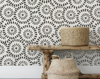 Chamomile Burst Pattern Wall Stencil - DIY Wallpaper Alternative - Easily Brighten Up Your Home With This Reusable Wall Pattern Stencil