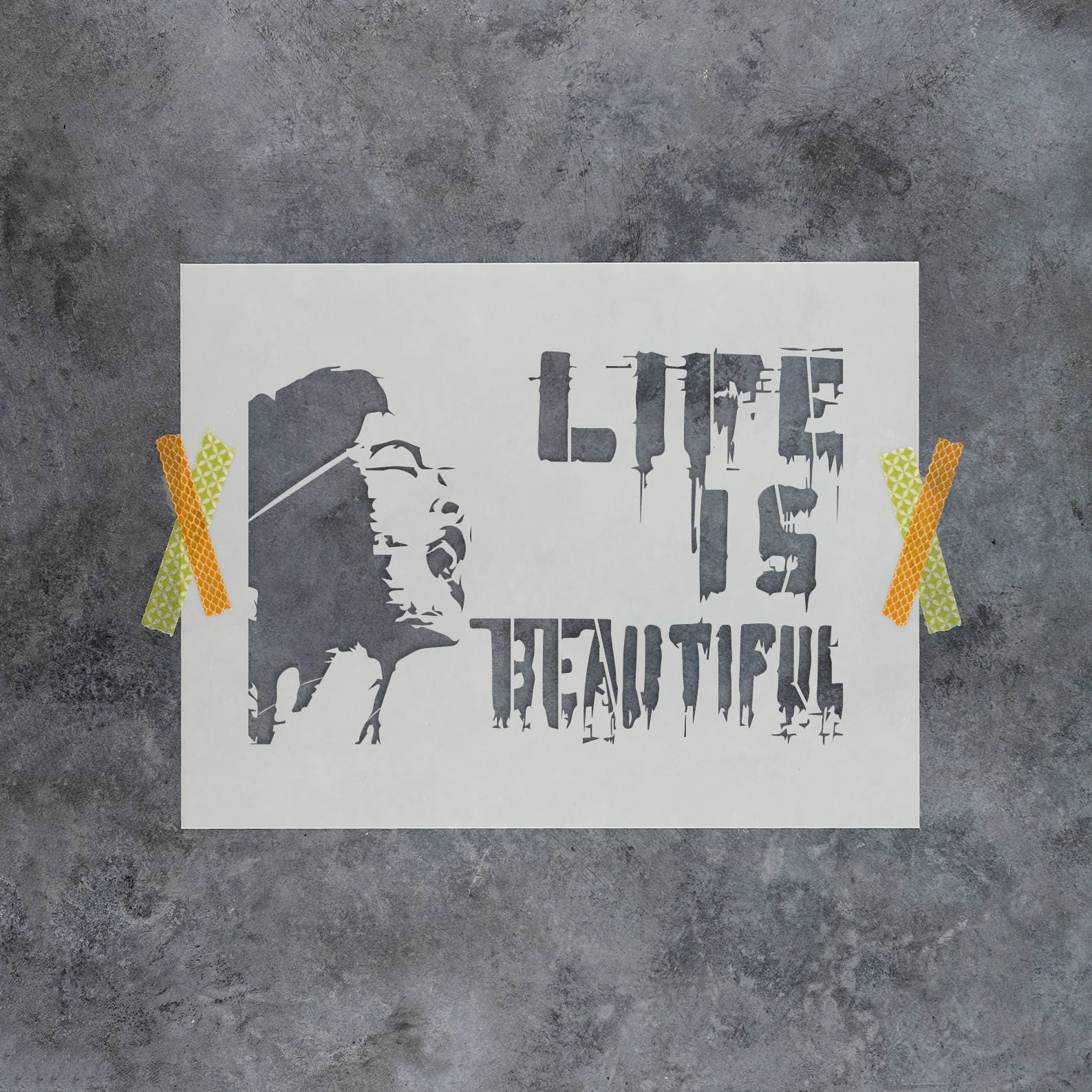 Life is beautiful banksy stencil reusable diy craft graffiti street art stencils of life is beautiful by banksy