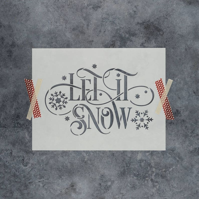 4fb658be44eb5 Let It Snow Stencil Reusable Christmas Stencils of Let | Etsy