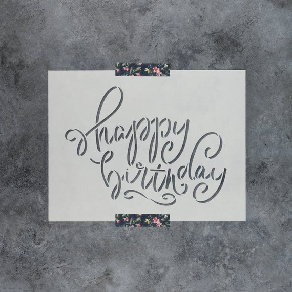 Reusable Stencils for Painting Create DIY Happy Birthday Script Home Decor Happy Birthday Script Stencil