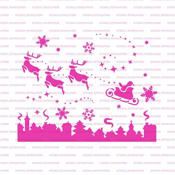 Santa Christmas Eve Stencil Reusable Stencils of Santa Christmas Eve Scene