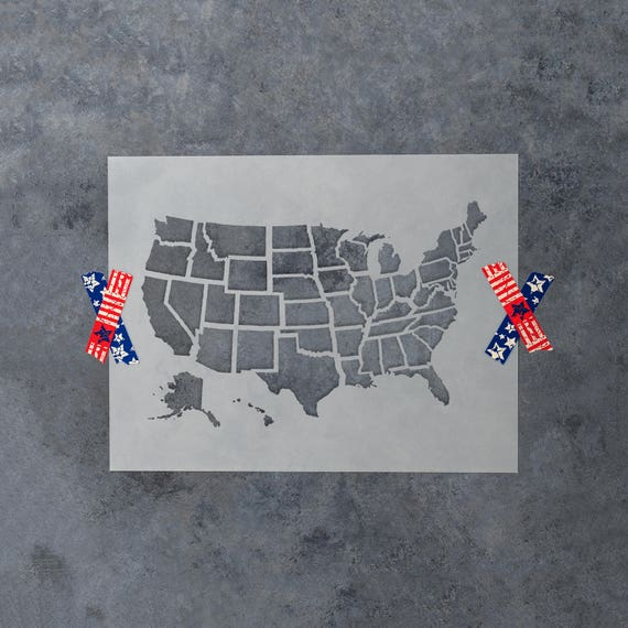 United States Map Outline Stencil Perfect for Patriotic | Etsy