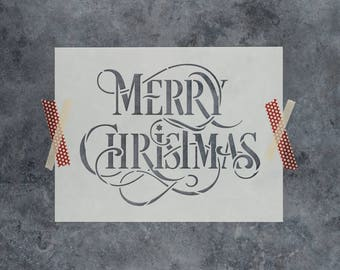 Merry Christmas Stencil - Reusable DIY Stencil of Merry Christmas Sign - Durable Stencil for Christmas Crafts Shipped FAST!
