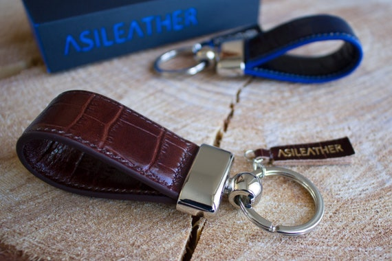Genuine Leather Wallet with Crocodile Imprint /& Key Chain Sets