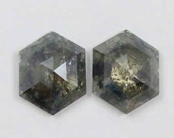 Natural Salt and Pepper Hexagon Shape Grey Color Diamond 0.48 Ct A129