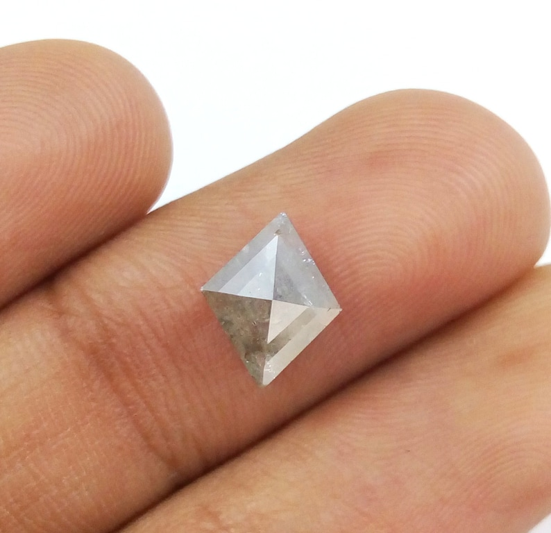1.98 Ct 10.29x8.25mm Natural Loose Kite Shape Grey Color Rustic Diamond A471