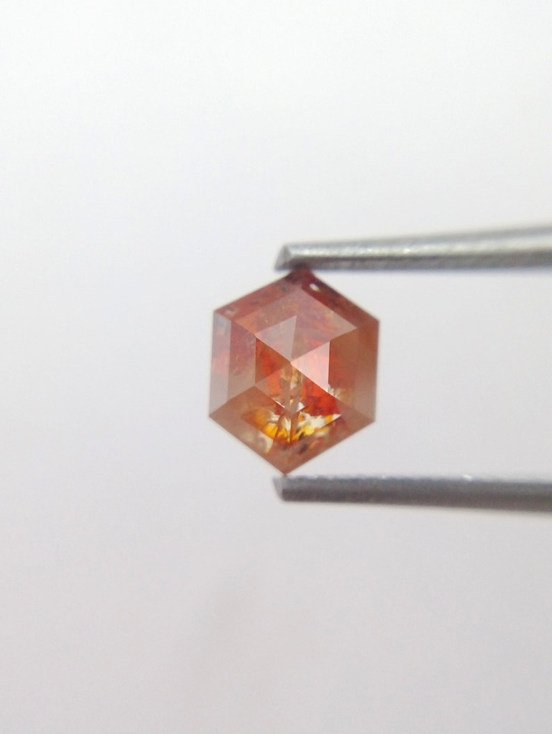 Natural Hexagon Shape Brownish Red Color Loose Diamond 0.83 Ct A111