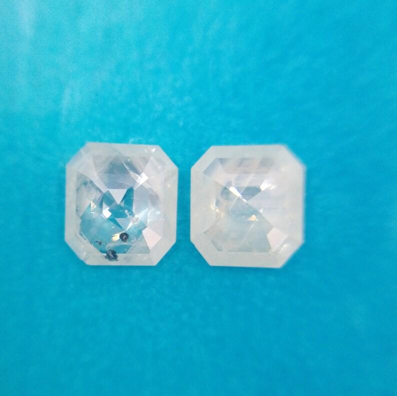 0.74 Ct 4.85X4.40mm Natural Pair Asscher Shape Transparent White Color Diamond A155