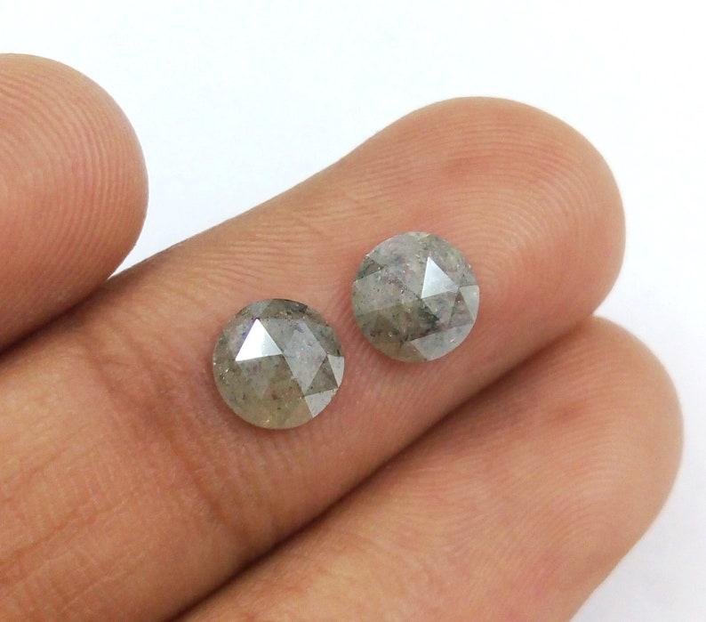 1.80 Ct Natural loose Salt And Pepper Pair Round Rose Cut Diamond A460