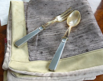 Splendid pair of service cutlery in bone and silver ' 30s, Italian
