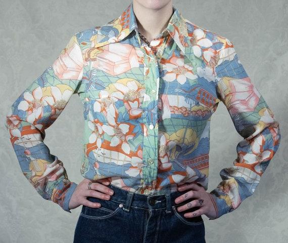 1970s Pastel Smoking Ladies Dagger Collar Shirt By