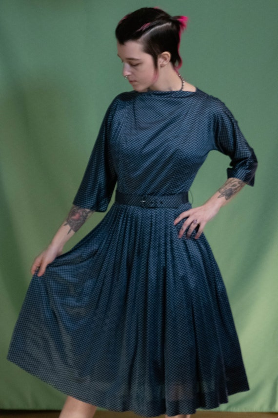 Vintage 1950s Handmade Blue Gingham Dress