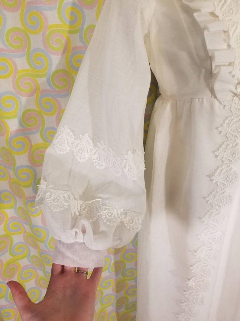 Vintage 1960s High Neck Empire Waist Wedding Dress