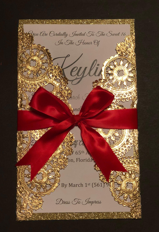 Romantic metallic gold doily invitation   Etsy