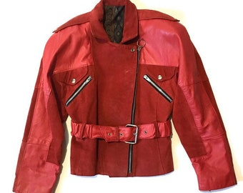 Red Leather Jacket Etsy