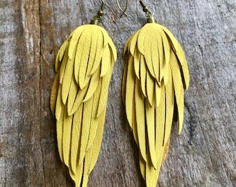 Leather feather earrings/ yellow leather fringe earrings/ leather feather earring/ light weight leather earrings/boho wedding