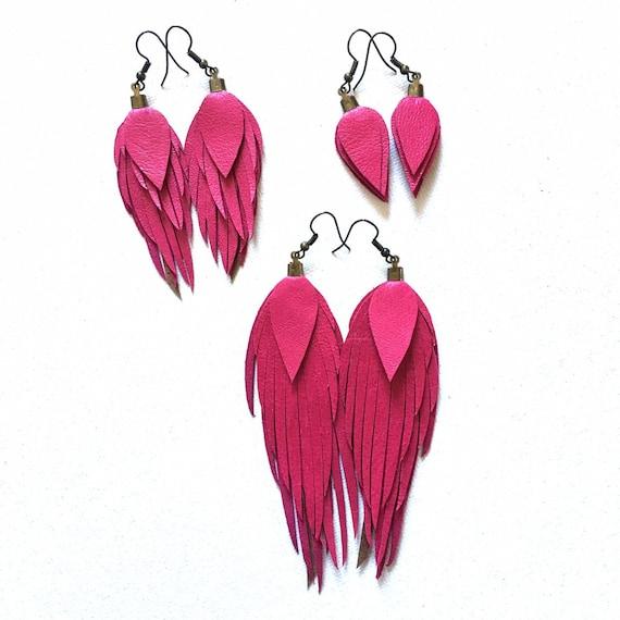 Leather feather earrings leather feather fringe earrings leather feather earring light weight leather earrings