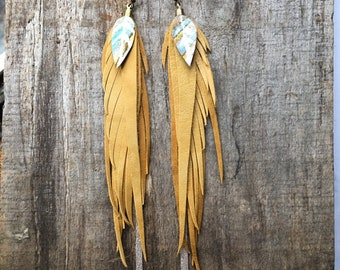 Long leather feather earrings/ leather feather fringe/ feather earrings/ boho gift/ bohemian earrings/ feather fringe earrings/ earrings