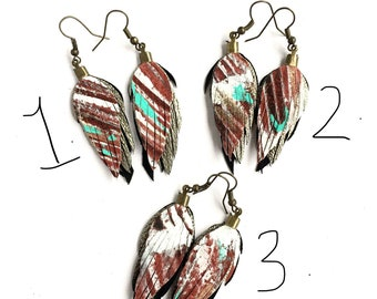 ONLY ONE!! Leather feather earrings/ leather feather fringe earrings/ leather feather earring/ light weight leather earrings