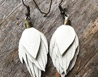 Leather feather earrings/ leather feather fringe earrings/ leather feather earring/ light weight leather earrings/boho wedding