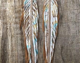 Boho leather feather fringe earrings. Bohemian earrings. Boho gift. Painted Leather feather earrings. Handpainted earring. Boho gift