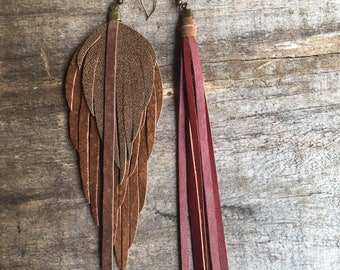 ONLY ONE! Leather feather earrings/ leather feather fringe earrings/ leather feather earring/ light weight leather earrings