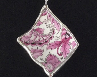 Broken China Jewelry /  Purple Paisley Pendant