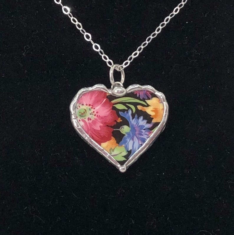 Royal Winton China Necklace Broken China Jewelry Black Chintz Heart Necklace or Charm Valentine\u2019s Day Gift