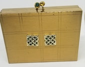 Gold tone and green rhinestone Voulpte minaudiere compact cigarette case evening bag