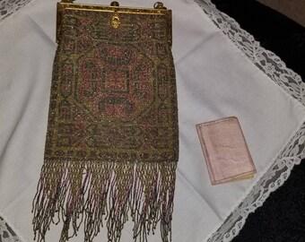 Antique Victorian Steel Microbead fringe evening purse, black,pink,gold