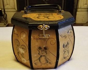 000b855110a2 Vintage Berjan zodiac astrology wood mouse box purse bag