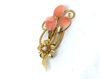 Autumn Wardrobe Kitsch Chic Boho Piece Vintage Cameo Peach Coral Style Brooch