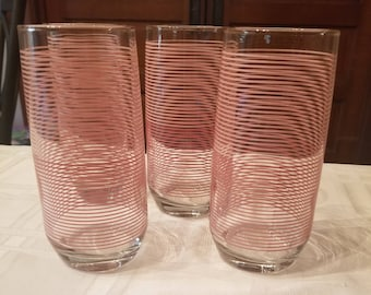 Mauve dusty pink 2 tone striped tall anchor hocking glass SET OF 4