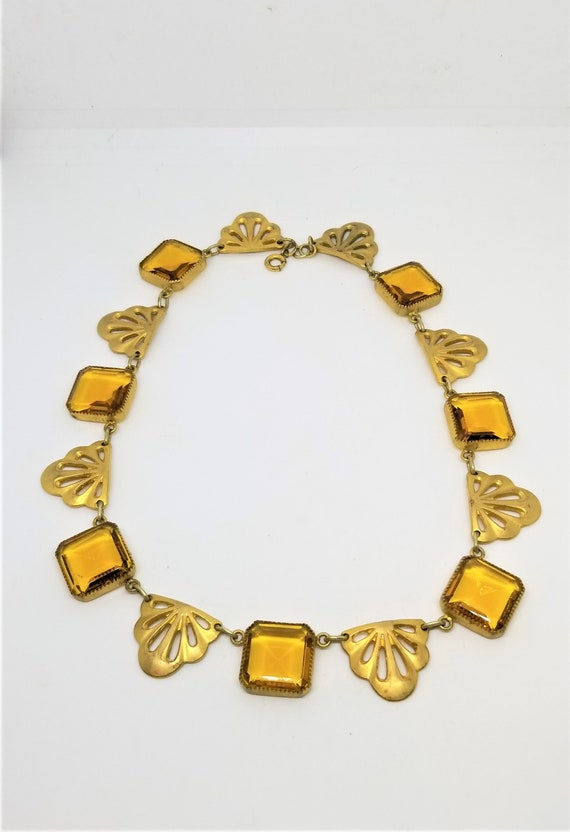 Vintage art deco gold tone and amber orange yellow