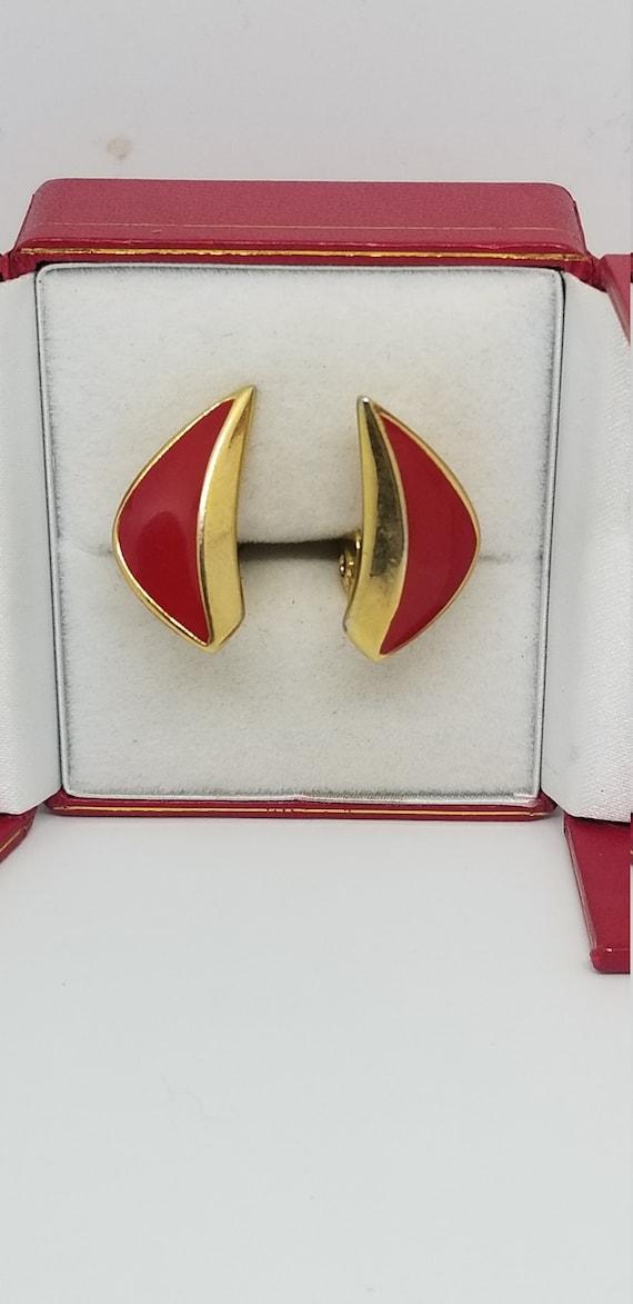 Vintage Monet red enamel and gold tone clip on stu