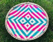 Africa Basket Wall Decor Serving wicker Tray Woven Round Basket Tray Boho Wall Hanging Decorative Tray Ethnic Traditional Basket Tray