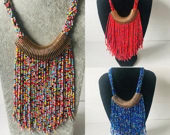 Ethnic Tribal African Kenyan Masai MAASAI Handmade MULTI-COLOURED  Necklace