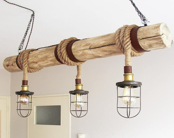 "Wooden pendant Light, ""Rope Cage Chandler"", Bar lighting, industrial, minimalist lamp, Loft, (including 3 filaments)"