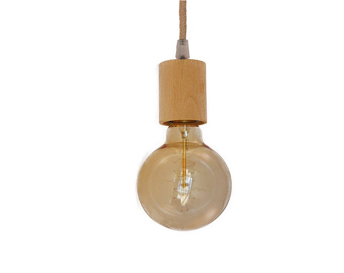 Pendant light-beech wood Fitting-Various cord colors