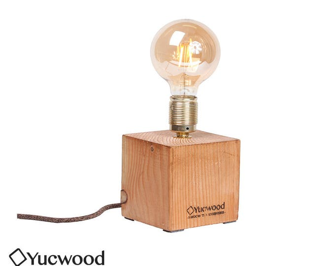 "Wooden lamp, ""Cube One"", industrial lamp, Night lamp"
