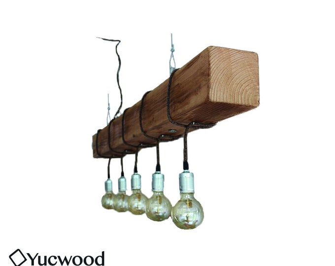 "Edison Pendant lamp, ""Douglas"", Wood Lighting, Bar Lighting, Industrial, Minimalist Lamp, Loft, (Including 5 Filaments)"
