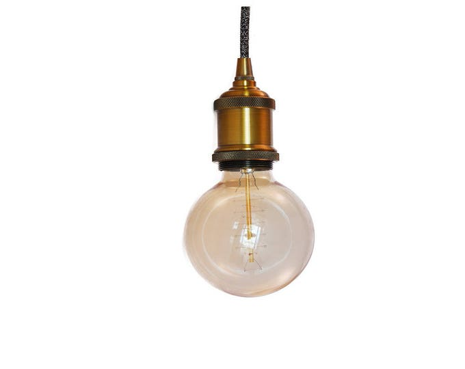 Pendant light-Retro metal Fitting brass-Assorted cord colors