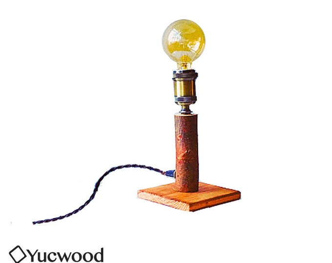 "Wood lamp, ""Willow Two"", desk lamp, night lamp, lighting, industrial lighting, handmade, Retro Fitting, (Incl. Led Filament)"