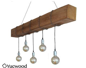 "Edison pendant Light, ""Douglas Two"", wooden lighting, Bar lighting, industrial, minimalist Lamp, Loft, (including 5 Filaments)"