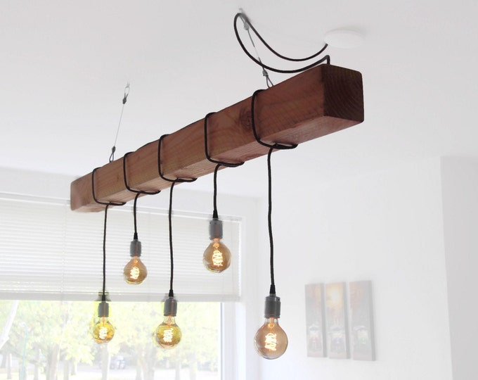 "Wooden beam with upholstered cord and light sources, Wooden beam lighting, ""Douglas One"", Industrial wooden hanging lamp"