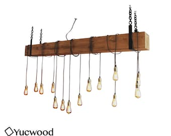 Douglas Bar Chandler, wooden pendant lamp, rustic lamp, industrial pendant light, handmade