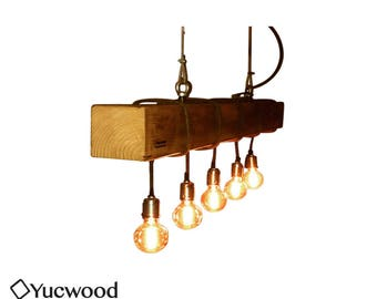"Edison Pendant lamp, ""Douglas"", Wood Lighting, Bar Lighting, Industrial, Minimalist Lamp, Loft,"