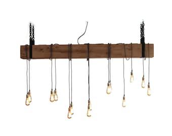 Large Wood Chandelier, Beam Lamp with Pendant Lamps, Rustic Pendant Lamp, Industrial Wooden Pendant Light, Handmade, 20x20cm