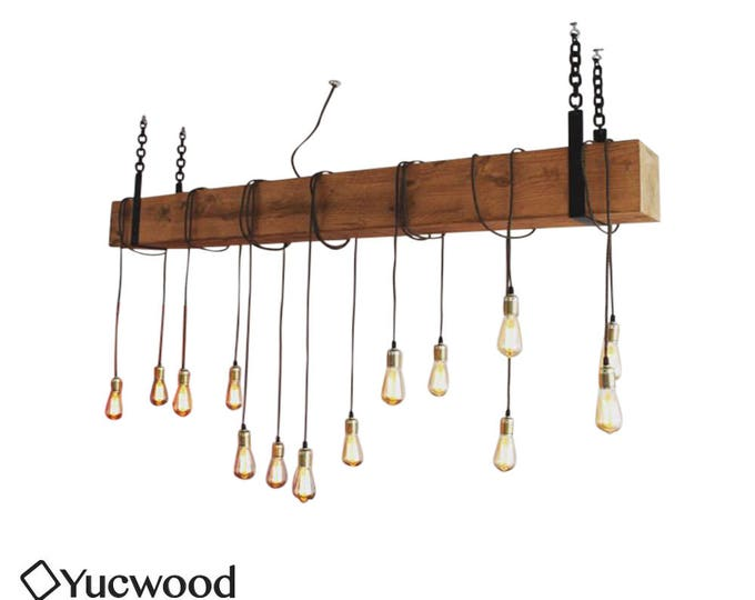 Large wooden chandelier, Beam lamp with pendant lamps, Rustic hanging lamp, Industrial wooden Hanging lamp, Handmade 15x15cm