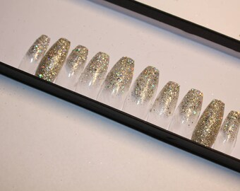 Sparkle french ombre press on nails